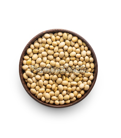 dried soy beans in bowl isolated