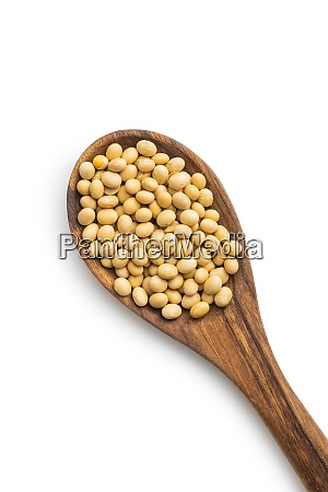 dried soy beans in wooden spoon