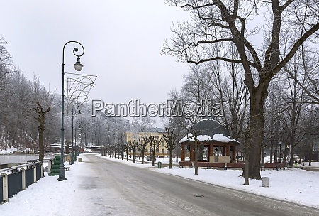 winter view of krynica zdroj town