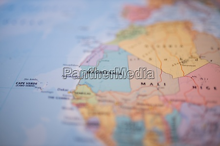 mauritania on a colorful and blurry