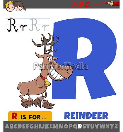 letter r worksheet with cartoon reindeer