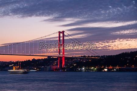 colorful afternoon and bosphorus bridge