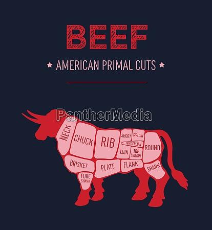 american primal beef meat cuts diagram