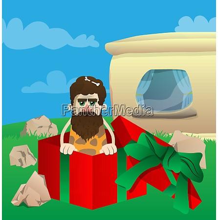 caveman in a gift box