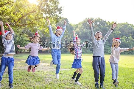happy children having fun in christmas