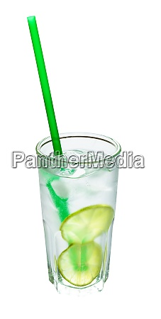 highball glass with prepared gin tonic