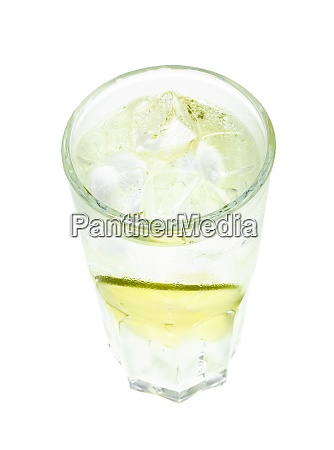 above view of gin tonic cocktail
