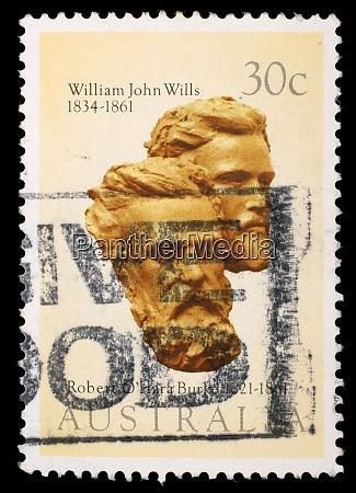 stamp printed in australia shows burke