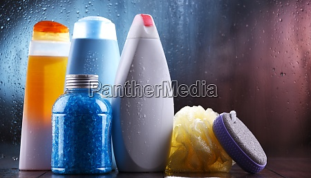 different containers of body care products