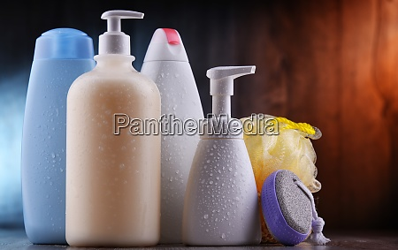 plastic contaiers of shampoos and shower