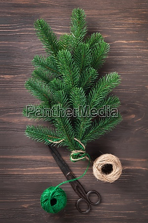 bouquet of fir branches tied with