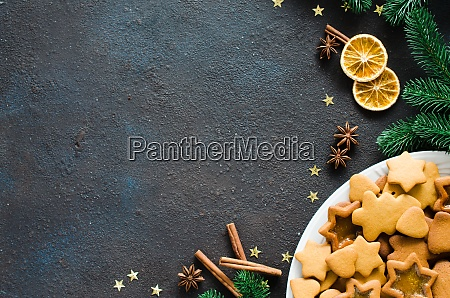 culinary background with freshly baked christmas