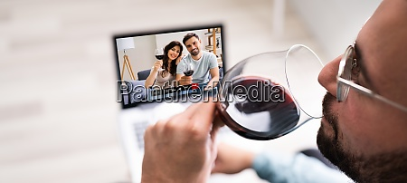online virtual wine drinking party