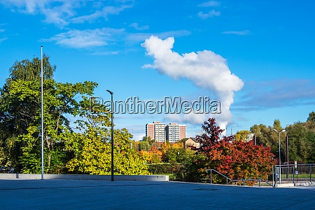 trees and building in autumn in