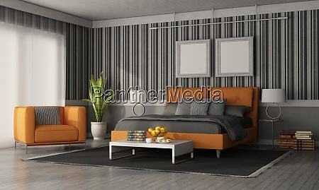 modern bedroom with double bed and