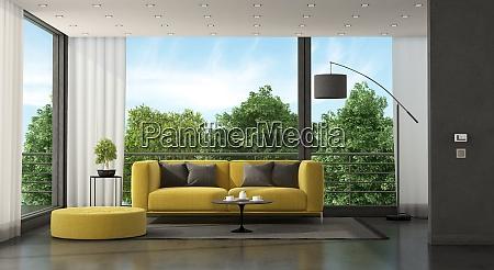 gray and yellow modern living room