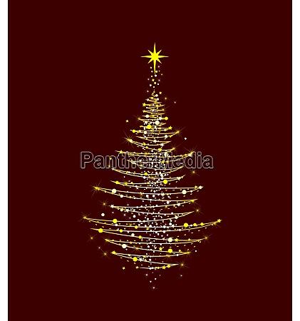 christmas tree shining golden