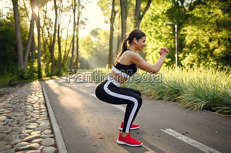 morning training in park stretching exercise