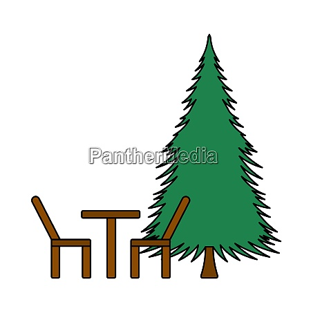 icon of park seat and pine
