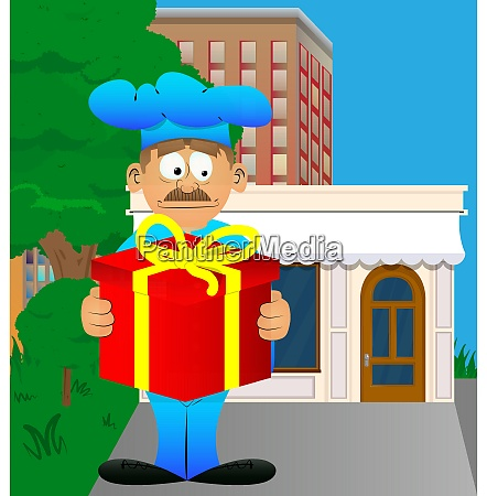chef in uniform holding big gift