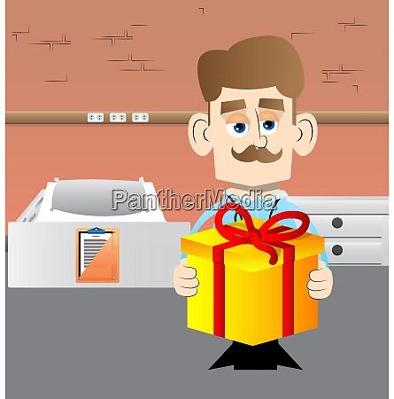doctor holding big gift box