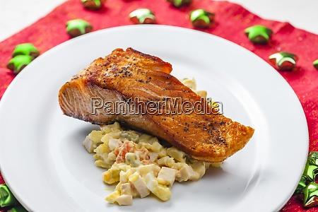 traditional czech christmas potato salad with
