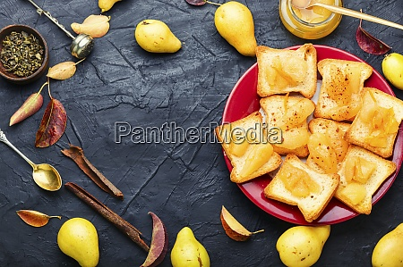 pear jam on the bread