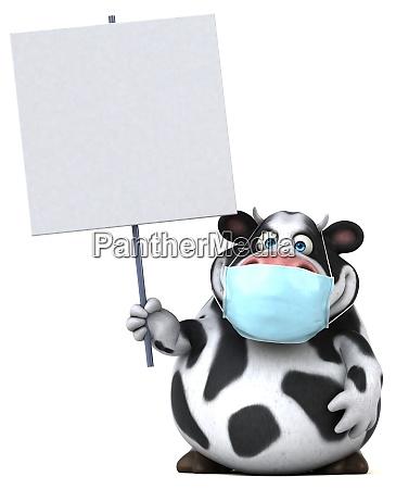fun 3d cartoon cow with a