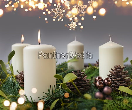 two burning candle in advent season
