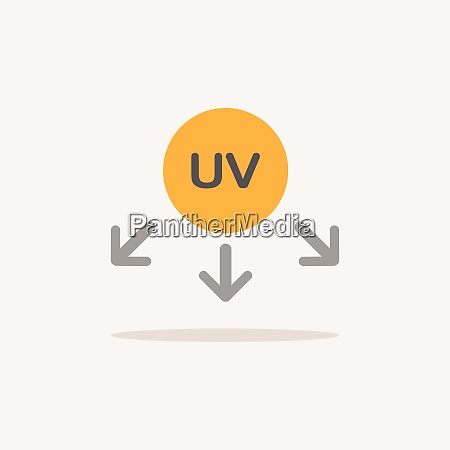 ultraviolet rays symbol color icon with