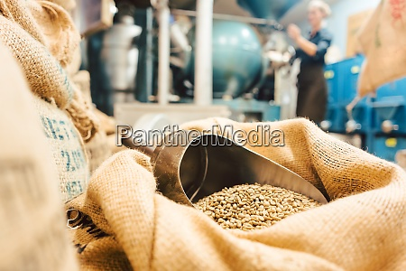 bags of coffee in roastery or