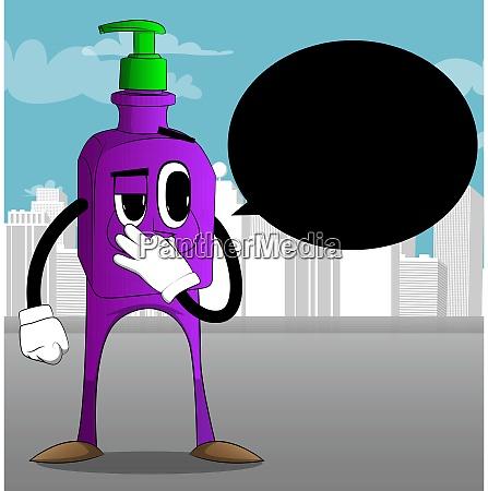 hand sanitizer gel holding his nose