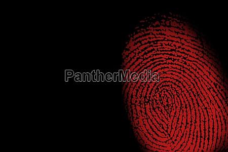 red fingerprint against black background