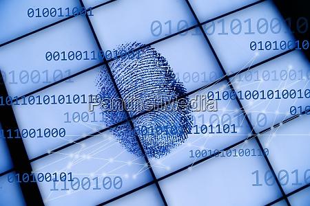 fingerprint on grid with binary code
