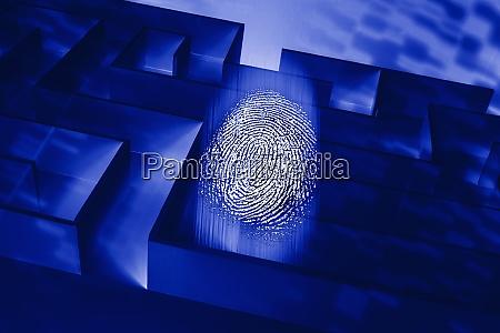 blue maze with fingerprint