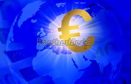 euro symbol over globe showing europe