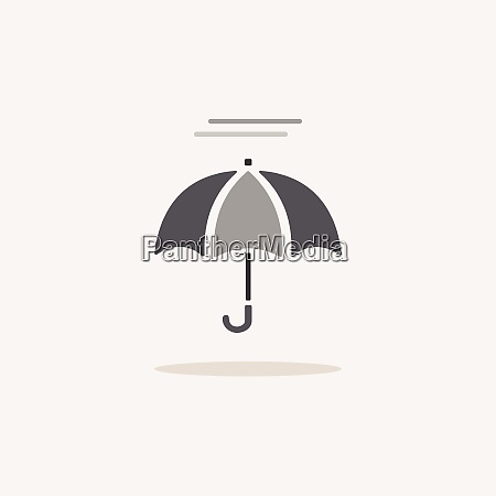 umbrella and fog color icon with