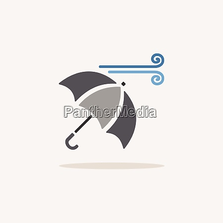 umbrella and wind color icon with