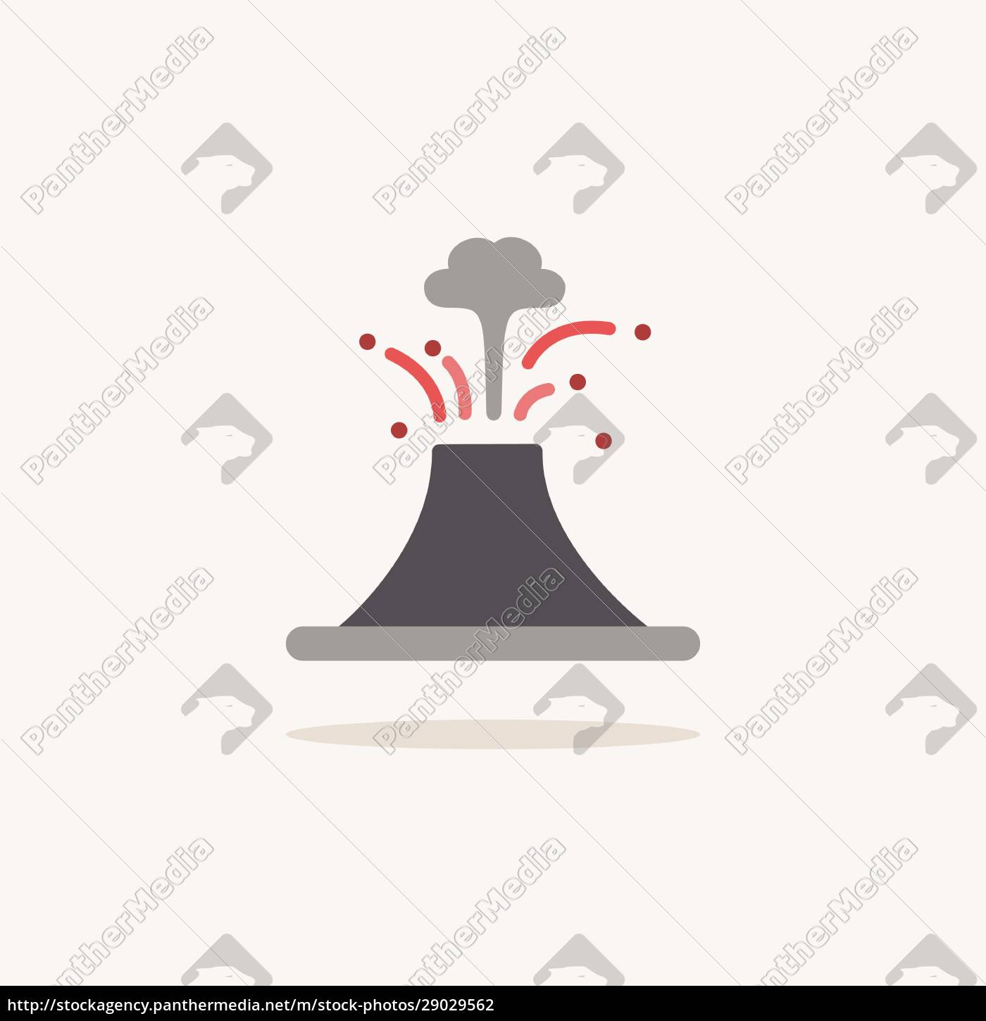 volcano., color, icon, with, shadow., weather - 29029562