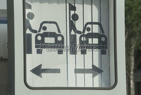 motorway toll plaza road sign