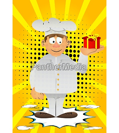 chef in uniform holding small gift