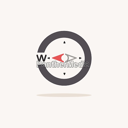 west direction compass color icon with