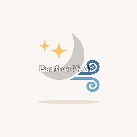 wind and moon color icon with