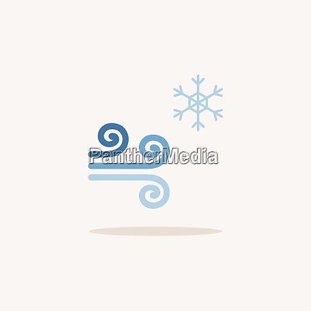 wind and snow color icon with