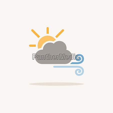 wind sun and cloud color icon