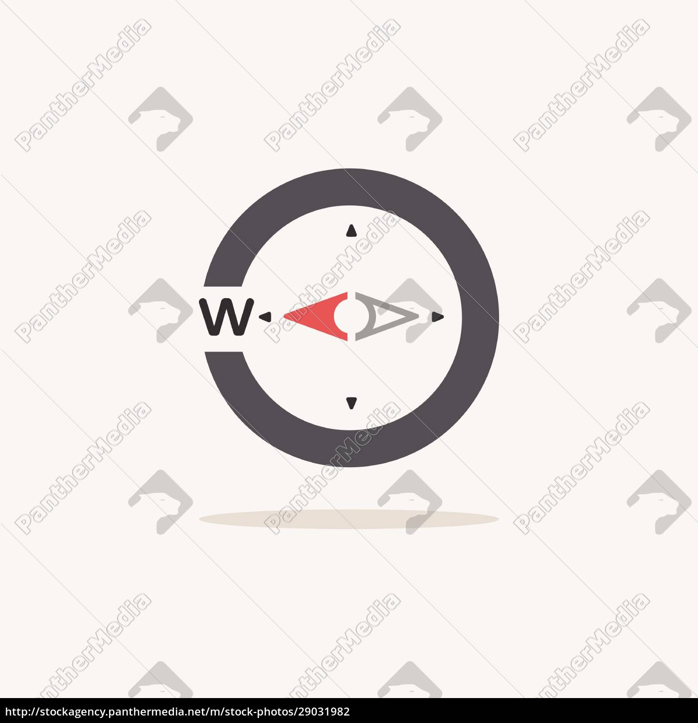 west, direction., compass., color, icon, with - 29031982
