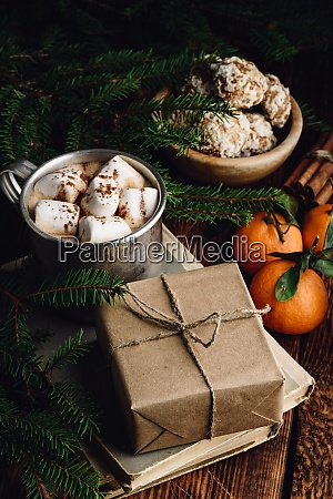gift box wrapped with craft paper