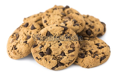 pile of chocolate chip cookies isolated