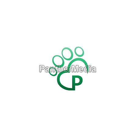 letter p icon on paw prints