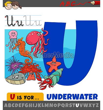 letter u from alphabet with cartoon
